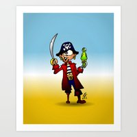 pirate Art Prints featuring Pirate by Cardvibes.com - Tekenaartje.nl