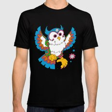 Daydream Owl MEDIUM Black Mens Fitted Tee
