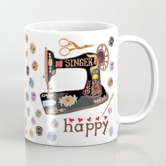 Sew Happy Vintage Singer Machine and Bobbins by igottacreate