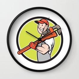 Plumber Smiling Holding Monkey Wrench Circle Cartoon Wall Clock
