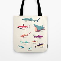 sharks Tote Bags featuring Sharks by Simon Alenius