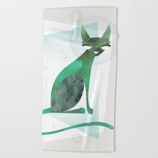 Mid-Century Feline Beach Towel