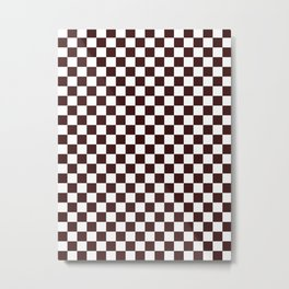 Small Checkered - White and Dark Sienna Brown Metal Print