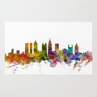 atlanta Area & Throw Rugs featuring Atlanta Georgia Skyline by artPause