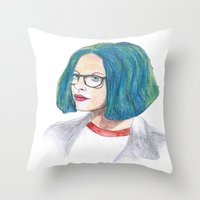 ghost world Throw Pillows featuring Ghost World by holy crow