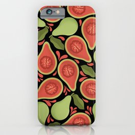 Tropical Guava Fruit Pattern On Black Background iPhone Case
