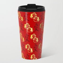 Gold Mandarin Ducks and Chinese love symbol Pattern Travel Mug