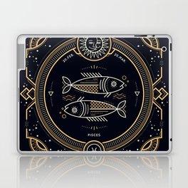 Pisces Zodiac Golden White on Black Background Laptop & iPad Skin