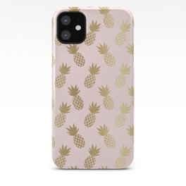 Pink & Gold Pineapples Pattern iPhone Case