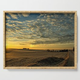 Winter Roads And Sunrises Serving Tray