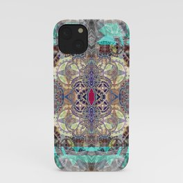 Ruby in the Mists of Time Boho Soul Glow Mandala iPhone Case