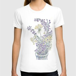Wild Flowers Ink and Watercolor  T-shirt