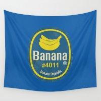 sticker Wall Tapestries featuring Banana Sticker On Blue by Karolis Butenas