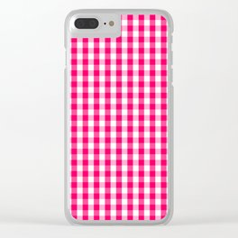 Hot Neon Pink and White Gingham Check Clear iPhone Case