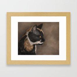 Calico Cat Painting Portrait Framed Art Print