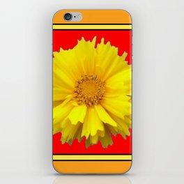DECORATIVE RED COREOPSIS MODERN ART iPhone Skin