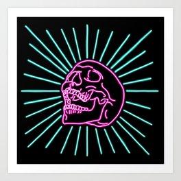 Pink Laughing Skull Art Print