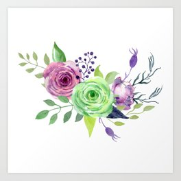 Posy GREEN AND VIOLET Painted - bouquet, nosegay, flower Art Print