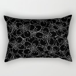Cherry Blossom Black on White - In Memory of Mackenzie Rectangular Pillow