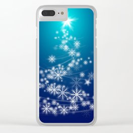 Whimsical Glowing Christmas Tree with Snowflakes in Blue Bokeh Clear iPhone Case
