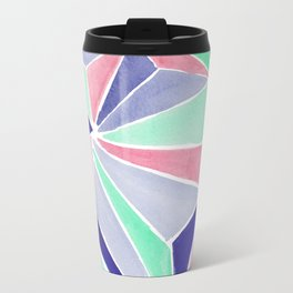 Watercolor colorful mint triangles. Watercolor geometry 3D effect. Travel Mug