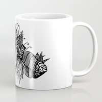 banana leaf Mugs featuring Banana Leaf Black & White Doodle Art Black Edition by martywoodskk