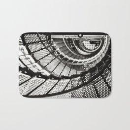 Spiral staircase black and white Bath Mat