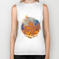 helen Biker Tanks featuring SKY ON FIRE by Catspaws