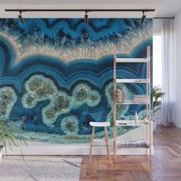 Blue agate slice Wall Mural