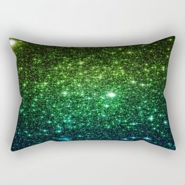 Glitter Galaxy Stars Green Teal Ombre Rectangular Pillow