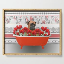 Boxer dog in red Bathtub with Tulips #society6 Serving Tray