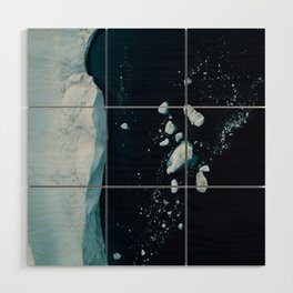 Silent Ice Bergs from above Wood Wall Art