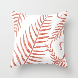 Terracotta Leaves - Terracotta Abstract Print - Modern, Minimal, Contemporary Abstract - Tropical Throw Pillow