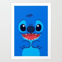 stitch Art Prints featuring Stitch by skyetaylorrr