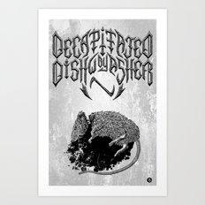 Decapitated by dishwasher I (white) Art Print