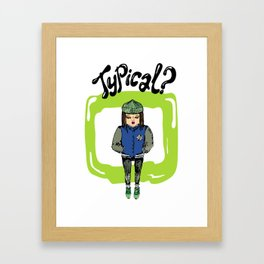 Illustration for t-shirt with girl in sneakers and college jacket Framed Art Print