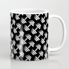 Dumbbellicious inverted / Black and white dumbbell pattern Coffee Mug