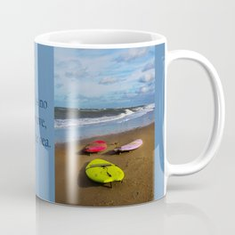 Surfing boards on beach Coffee Mug
