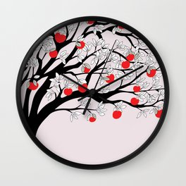 black tree with red apples Wall Clock