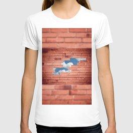 Red bricks broken wall T-shirt