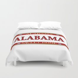 Alabama State Name License Plate Duvet Cover