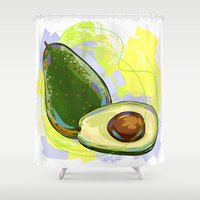 vietnam Shower Curtains featuring Vietnam Avocado by Vietnam T-shirt Project