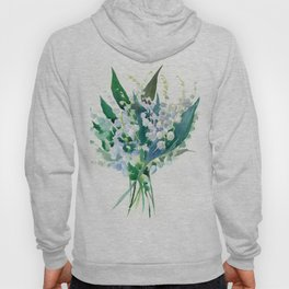Lilies of the Valley, floral bouquet art,design spring flowers turquoise green white sky blue floral Hoody