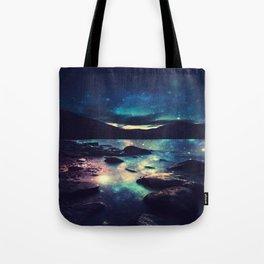 Magical Mountain Lake : Deep Pastels Teal Mauve Tote Bag