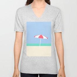 Umbrella on Playa Blanco | Cartagena, Colombia Unisex V-Neck