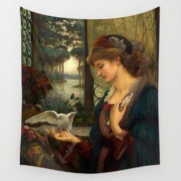 """Marie Spartali Stillman """"Love's Messenger"""" Wall Tapestry"""