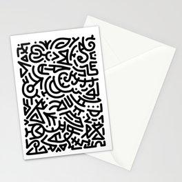 Bold Black Marker Doodle Line Stationery Cards