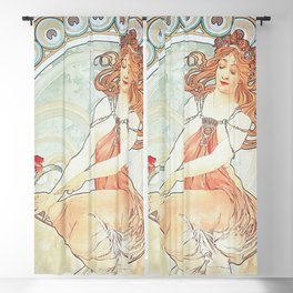 Painting by Alphonse Mucha 1898 // Retro Woman with a Flower Geometric Circle Abstract Blackout Curtain