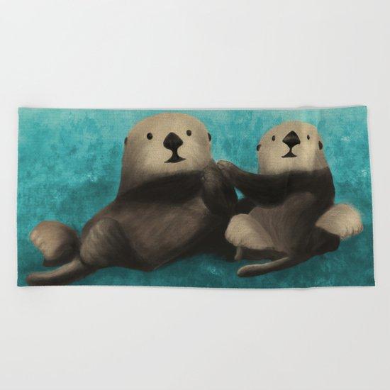 Sea Otters in Love Beach Towel