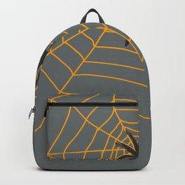 Orange Spider web - grey background - halloween design Backpack